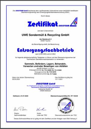EFB Zertifikat UWE S&R